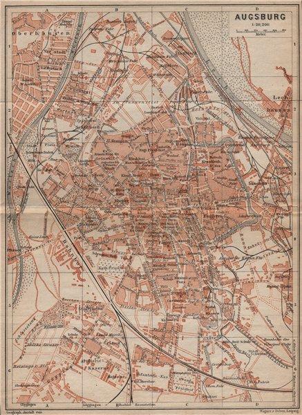 Associate Product AUGSBURG antique town city stadtplan. Bavaria karte. BAEDEKER 1907 old map
