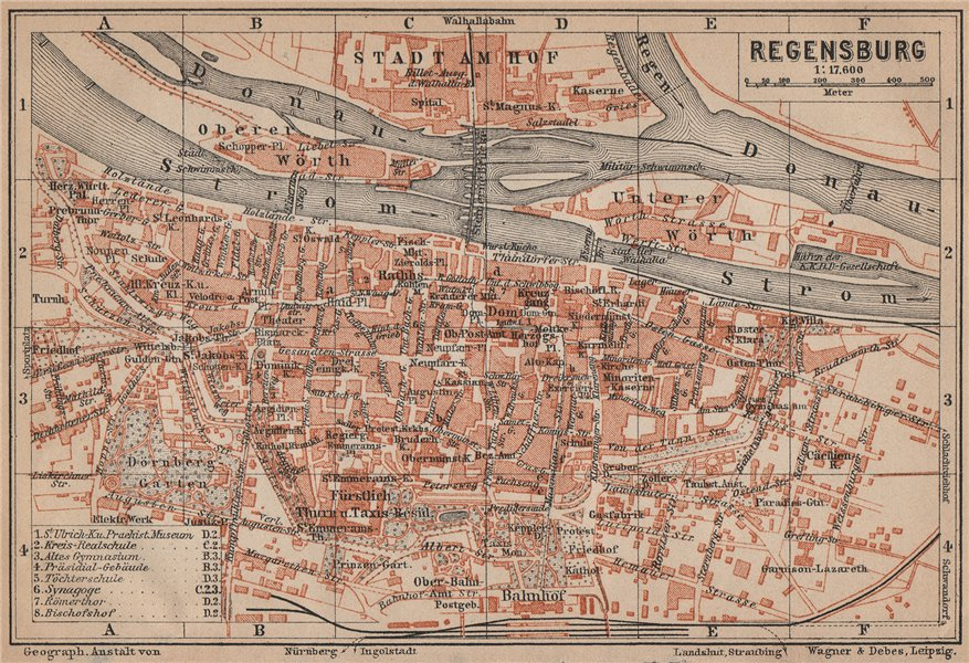 Associate Product REGENSBURG town city stadtplan. Bavaria. Ratisbon. Stadtamhof karte 1907 map