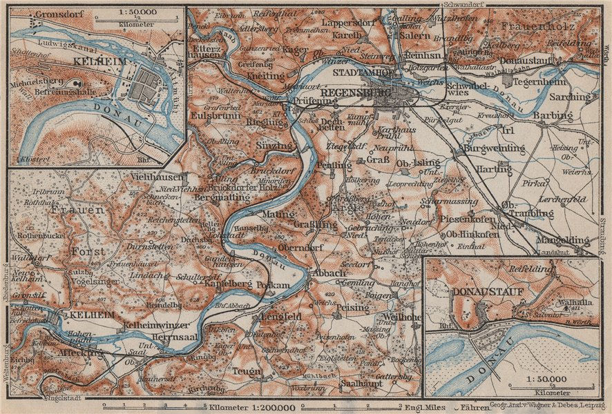 Associate Product REGENSBURG & environs/umgebung. Kelheim Donaustauf. Ratisbon. Bavaria 1907 map