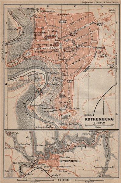 Associate Product ROTHENBURG OB DER TAUBER town city stadtplan. Bavaria, Deutschland 1907 map