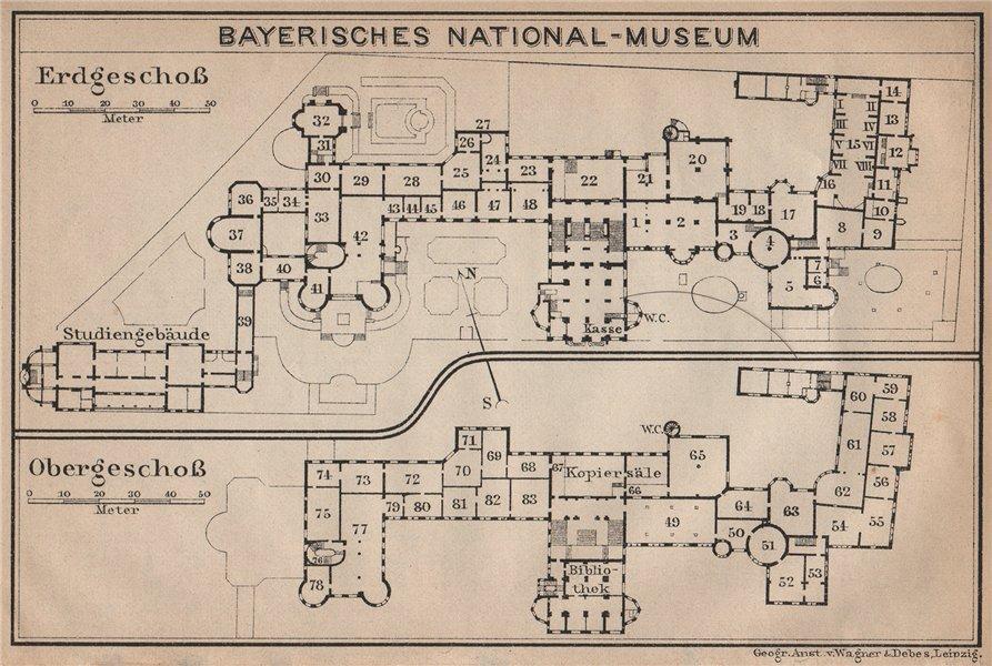 Associate Product BAVARIAN / BAYERISCHES NATIONALMUSEUM floor plan. Munich München karte 1907 map