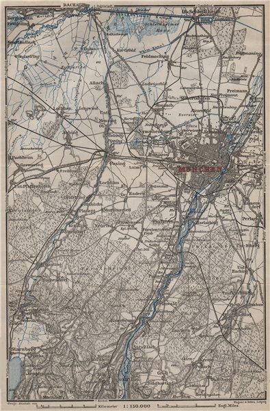 Associate Product MÜNCHEN MUNICH environs/umgebung. Pasing Dachau. Forstenrieder Baier 1907 map