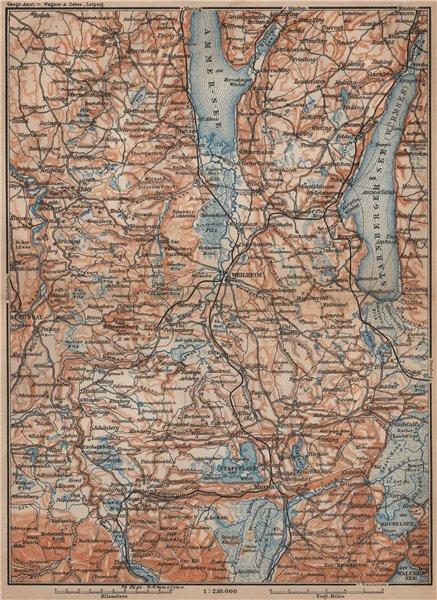 Associate Product STARNBERGERSEE & AMMERSEE. Weilheim Schongau Murnau Starnberg karte 1907 map
