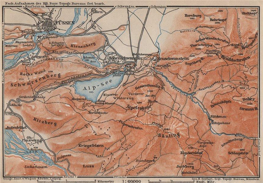 Associate Product HOHENSCHWANGAU  & FÜSSEN environs. Alpsee Deutschland Österreich karte 1907 map