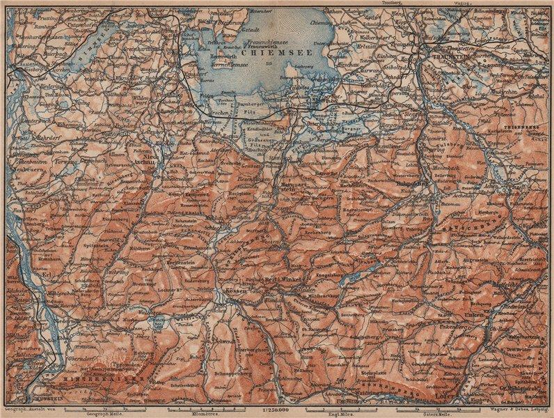 Associate Product CHIEMSEE, CHIEMGAU & environs. Kufstein Traunstein Lofer Kössen karte 1907 map