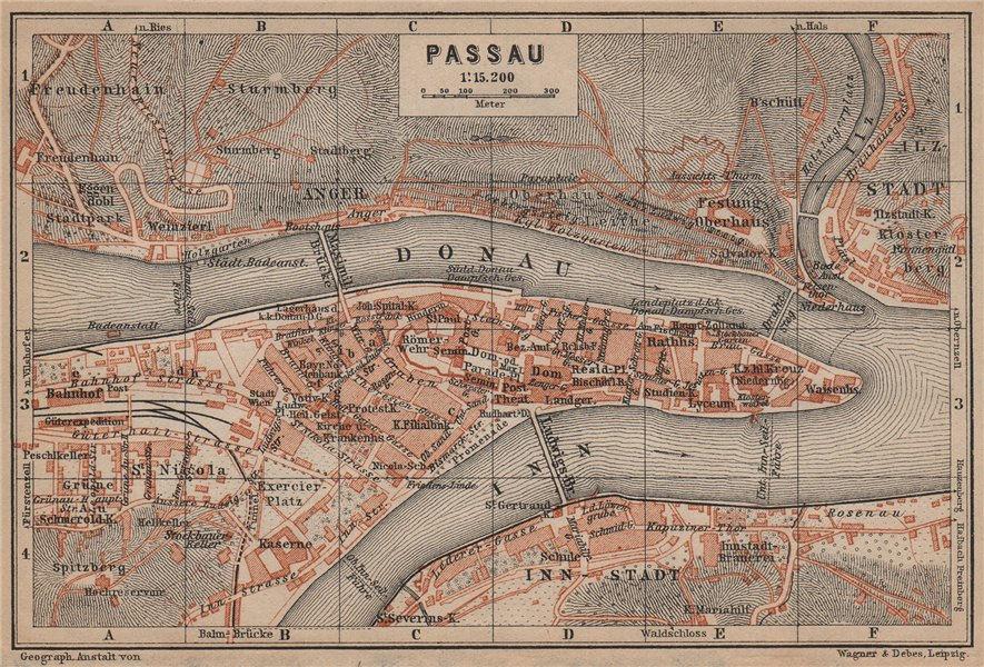 Associate Product PASSAU town city plan stadtplan. Inn Donau/Danube. Germany Deutschland 1907 map