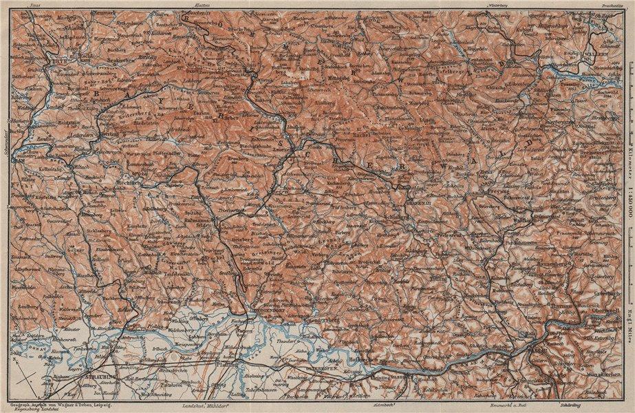Associate Product BAYRISCHERWALD. Bavarian Forest Cham Passau Böhmerwald karte. BAEDEKER 1907 map