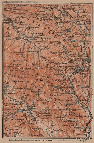 Associate Product BAVARIAN/BOHEMIAN FOREST Bayrischer/Böhmerwald. Bodenmais Zelezna Ruda 1907 map