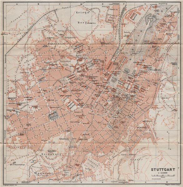 Associate Product STUTTGART antique town city stadtplan. Baden-Württemberg karte 1910 old map