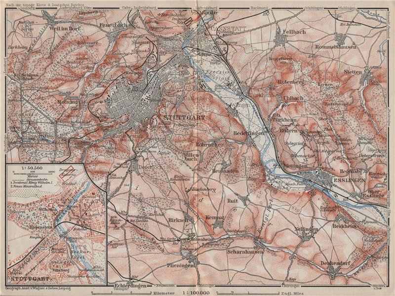Associate Product STUTTGART environs/umgebung.Cannstatt Esslingen Fellbach Hommelshausen 1910 map