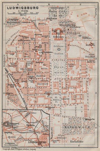 Associate Product LUDWIGSBURG town city stadtplan. Baden-Württemberg. Schloss karte 1910 old map