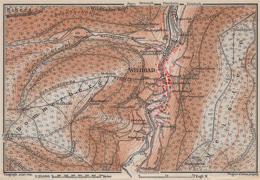 Associate Product BAD WILDBAD & environs/umgebung. Sommerberg. Baden-Württemberg karte 1910 map
