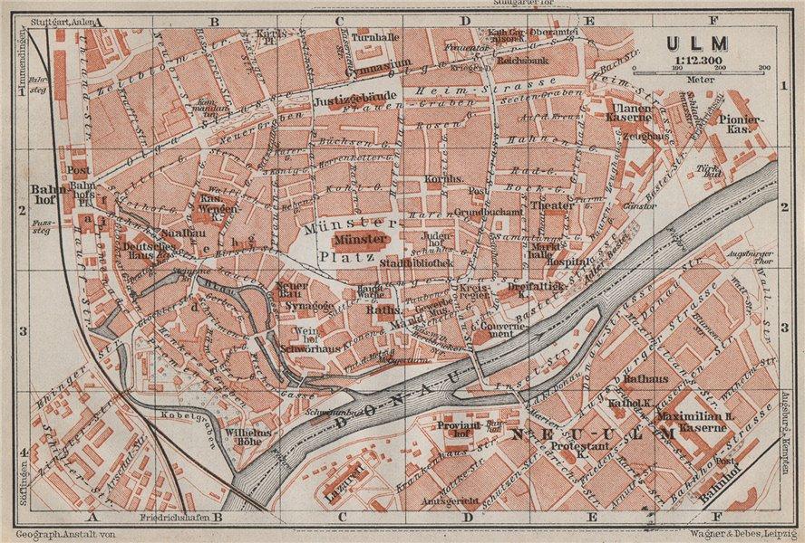 Associate Product ULM antique town city stadtplan. Baden-Württemberg karte. BAEDEKER 1910 map
