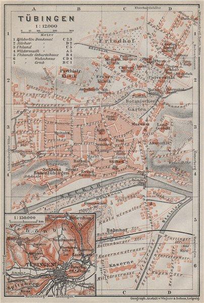 Associate Product TÜBINGEN town city stadtplan. Baden-Württemberg. Tubingen karte 1910 old map