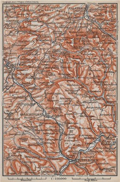 Associate Product SCHWÄBISCHE ALB Südwest. Swabian Jura. Obere Donau Balingen Tuttlingen 1910 map