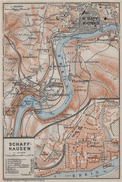 Associate Product SCHAFFHAUSEN town city stadtplan & umgebung. Rheinfall. Rhine falls 1910 map