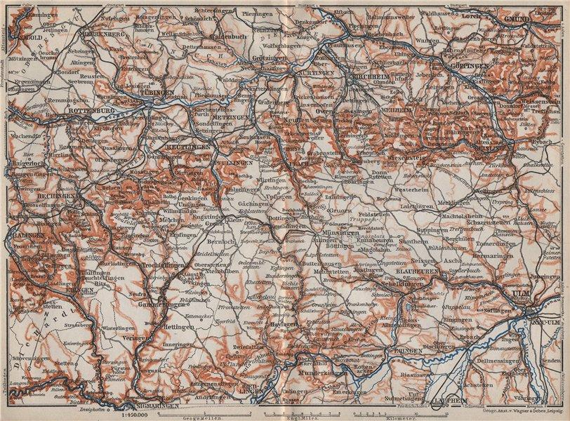 Associate Product SCHWÄBISCHE ALB. Swabian Jura topo-map. Ulm Rottenburg Gmünd Kirchheim 1910