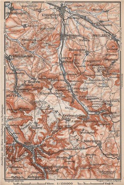 Associate Product KIRCHHEIM UNTER TECK & umgebung. Lauter valley Bad Urach Weilheim Burg 1910 map
