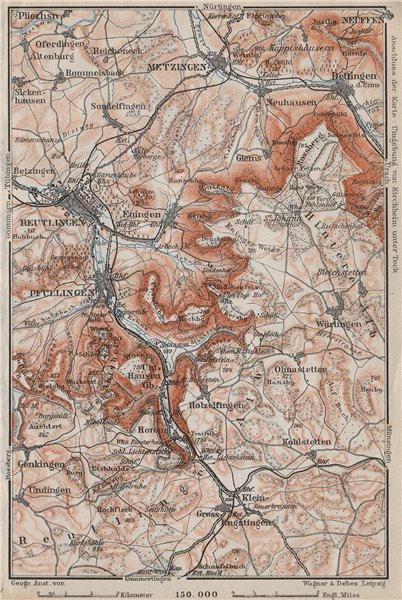 Associate Product REUTLINGEN Metzingen Pfullingen. Schwäbische Alb. Swabian Jura karte 1910 map