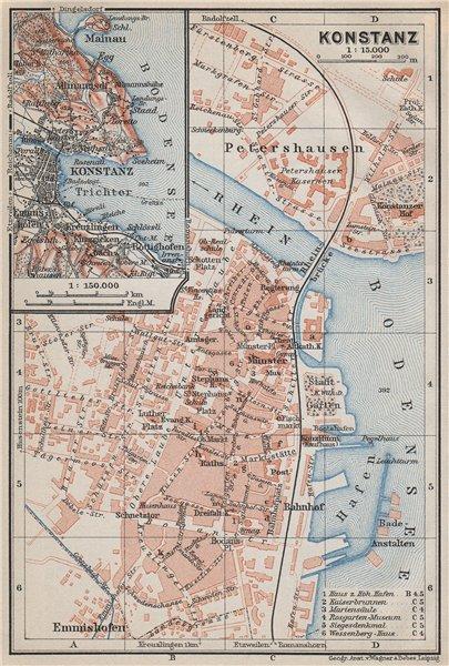 Associate Product CONSTANCE. KONSTANZ. town city stadtplan. Germany karte. BAEDEKER 1910 old map