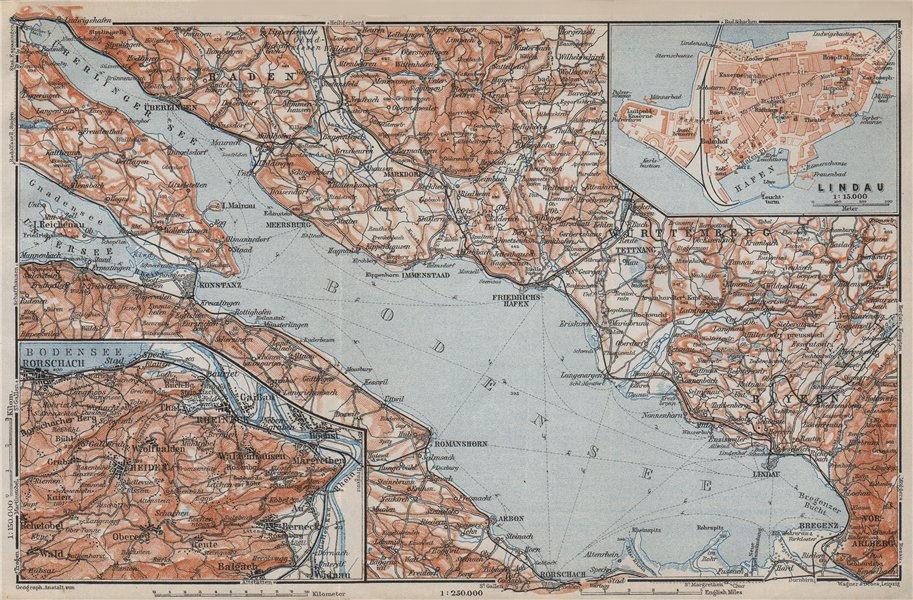 Associate Product LAKE CONSTANCE inset LINDAU. Konstanz St Gallen Bregenz. Topo-map 1910 old