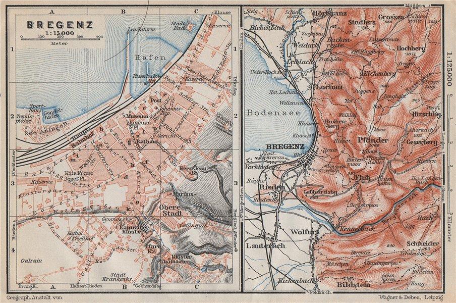 Associate Product BREGENZ town city stadtplan and environs. Österreich Austria karte 1910 map