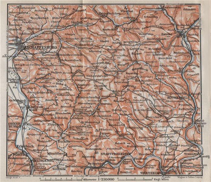 Associate Product SPESSART topo-map. Aschaffenburg Lohr am Main Zertheim Geiersberg 1910 old