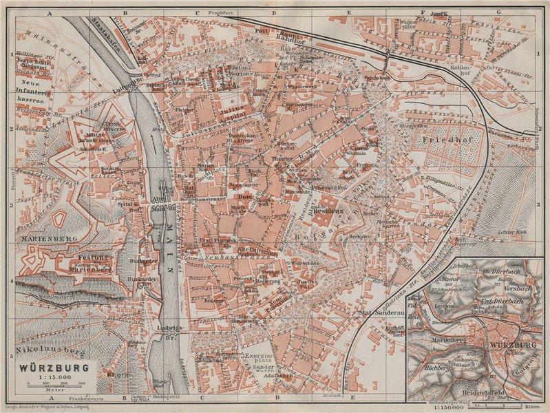 Associate Product WÜRZBURG town city stadtplan & umgebung/environs. Wurzburg. Bavaria 1910 map