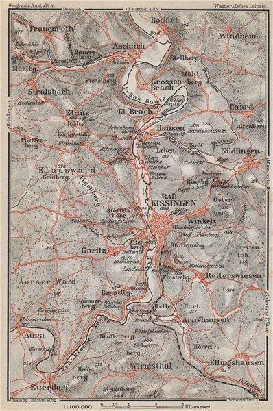 Associate Product BAD KISSINGEN & umgebung. Nüdlingen Eltinghausen Euerdorf Bocklet 1910 old map