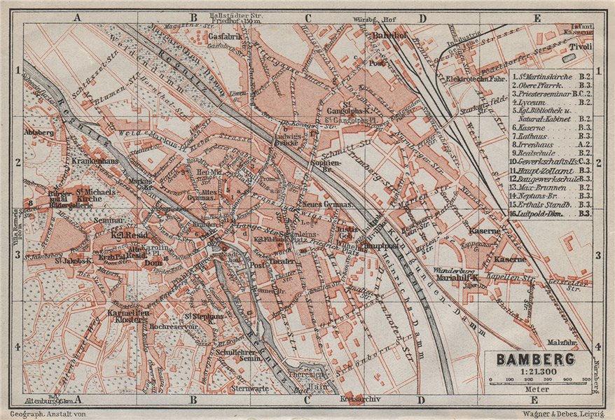 Associate Product BAMBERG antique town city stadtplan. Bavaria karte. BAEDEKER 1910 old map