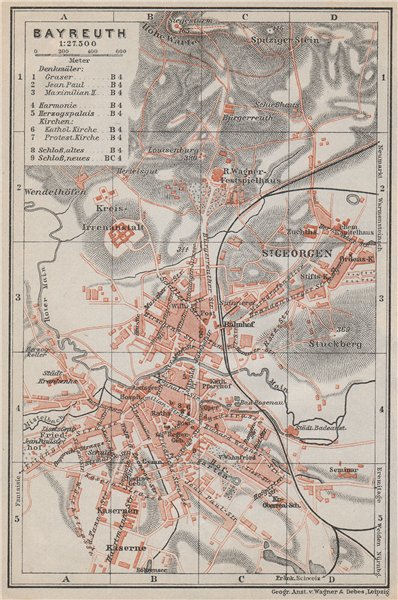 Associate Product BAYREUTH antique town city stadtplan. Bavaria. St Georgen karte 1910 old map