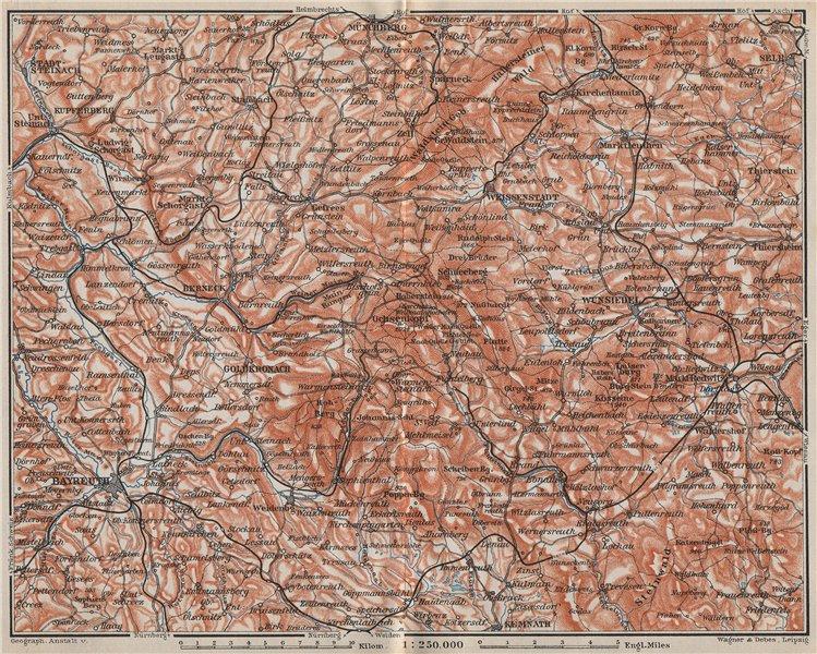 Associate Product FICHTELGEBIRGE. Fichtel Mountains. Bayreuth Münchberg Wunsiedel Selb 1910 map