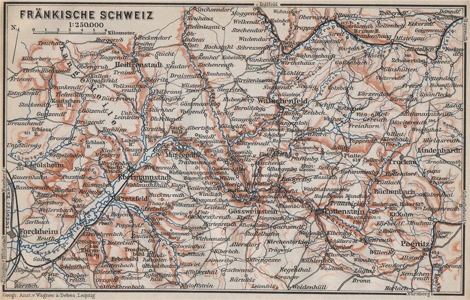 Associate Product FRANCONIAN SWITZERLAND. FRÄNKISCHE SCHWEIZ topo-map. Deutschland karte 1910