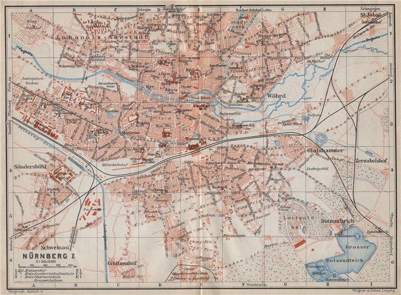 Associate Product NÜRNBERG antique town city stadtplan. Nuremberg. Bavaria karte 1910 old map