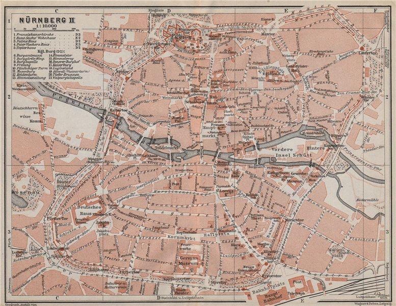 Associate Product NÜRNBERG town city centre/innere stadtplan. Nuremberg. Bavaria karte 1910 map