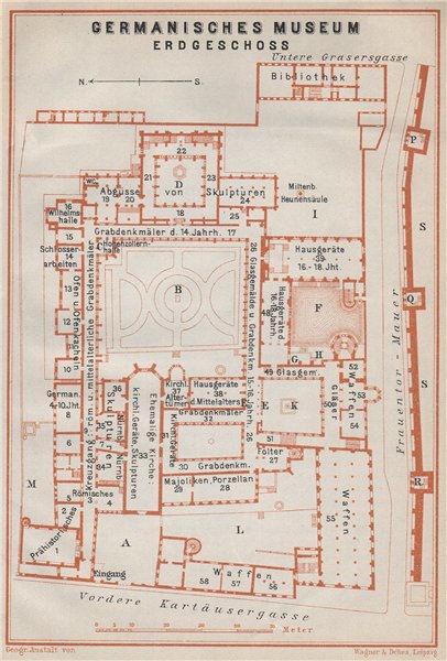 Associate Product GERMANISCHES NATIONALMUSEUM, NÜRNBERG Nuremberg. Ground floor plan 1910 map