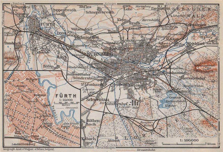 Associate Product NÜREMBURG (NURNBERG) & FÜRTH town city stadtplan. Bavaria karte 1910 old map