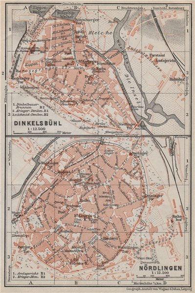 Associate Product DINKELSBÜHL & NÖRDLINGEN antique town city stadtplan. Bavaria karte 1910 map