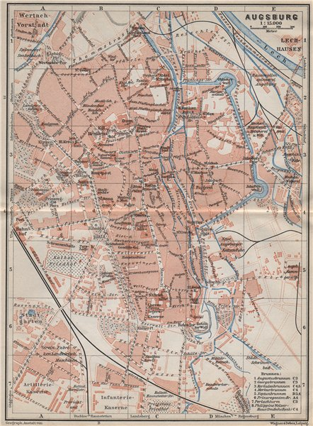 Associate Product AUGSBURG antique town city stadtplan. Bavaria karte. BAEDEKER 1910 old map