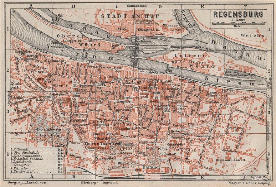 Associate Product REGENSBURG town city stadtplan. Bavaria. Ratisbon. Stadtamhof karte 1910 map