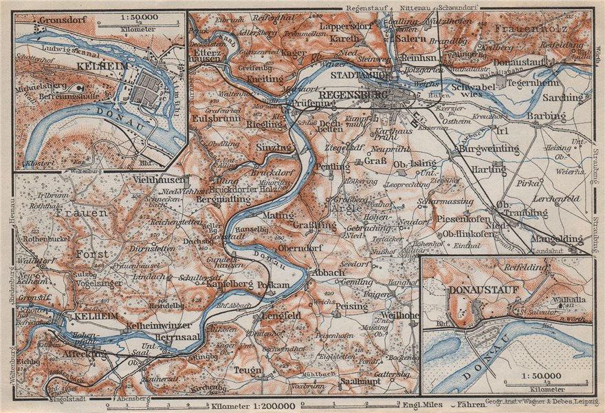 Associate Product REGENSBURG & environs/umgebung. Kelheim Donaustauf. Ratisbon. Bavaria 1910 map