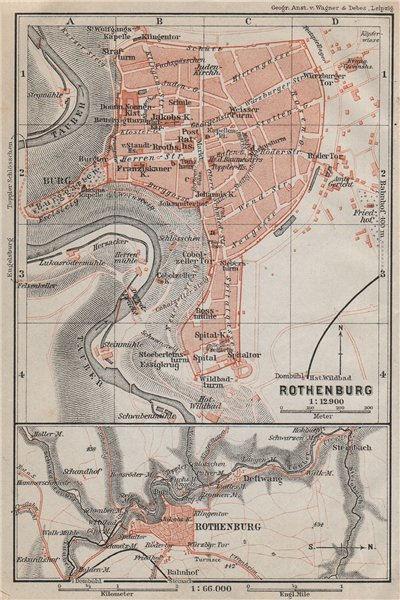 Associate Product ROTHENBURG OB DER TAUBER town city stadtplan. Bavaria, Deutschland 1910 map