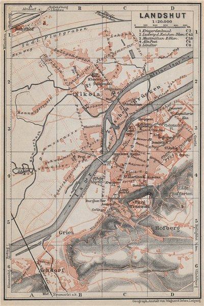Associate Product LANDSHUT town city stadtplan. Bavaria. Nikola Hofberg Zwischen Brücken 1910 map