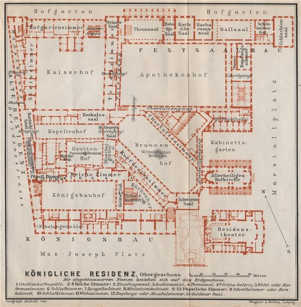 Associate Product Munich / MÜNCHNER RESIDENZ. Royal palace. Königliche. Ground plan 1910 old map