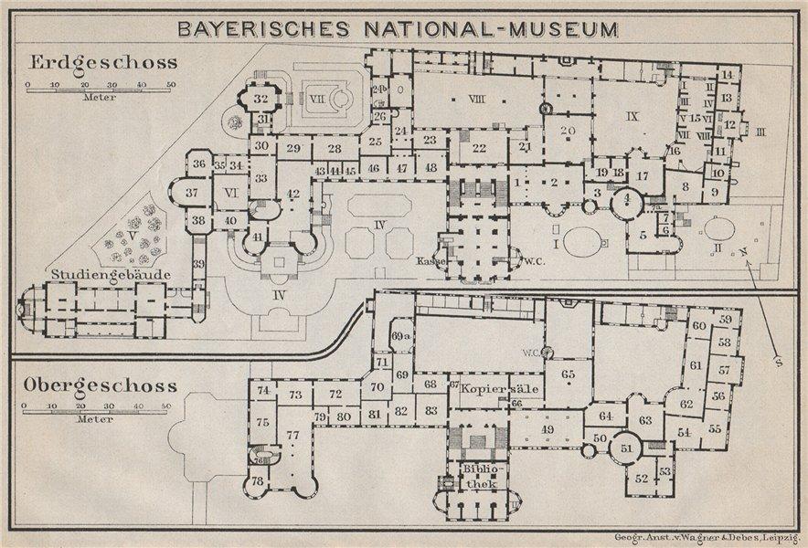 Associate Product BAVARIAN / BAYERISCHES NATIONALMUSEUM floor plan. Munich München karte 1910 map