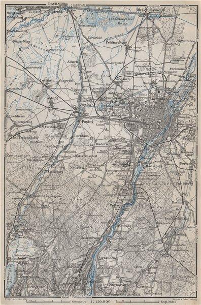 Associate Product MÜNCHEN MUNICH environs/umgebung. Pasing Dachau. Forstenrieder Baier 1910 map
