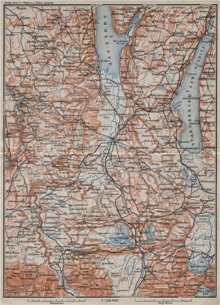 Associate Product STARNBERGERSEE & AMMERSEE. Weilheim Schongau Murnau Starnberg karte 1910 map