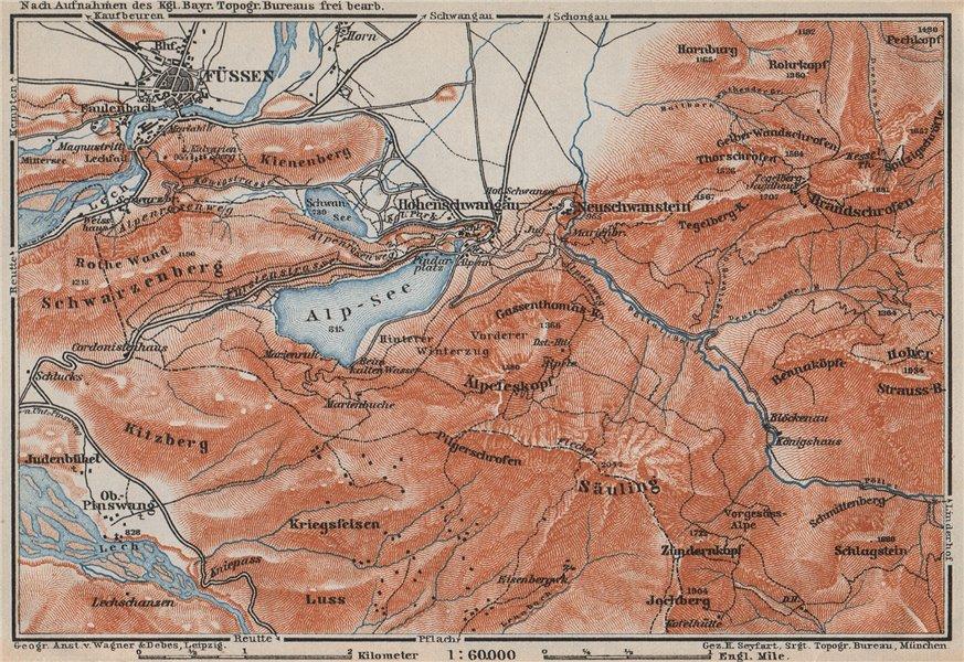 Associate Product HOHENSCHWANGAU  & FÜSSEN environs. Alpsee Deutschland Österreich karte 1910 map