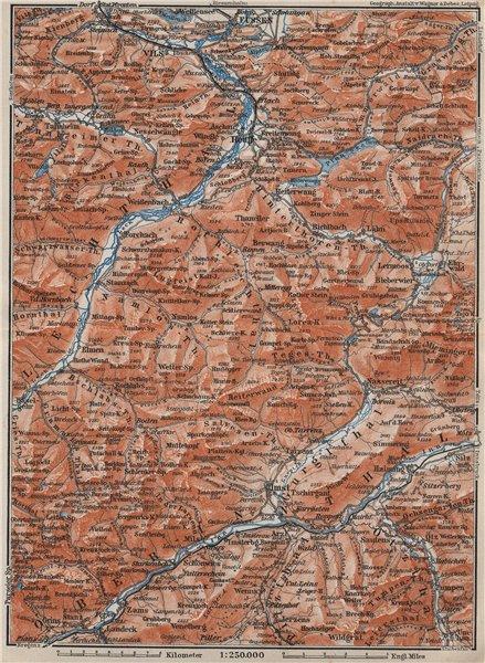Associate Product LECHQUELLENGEBIRGE range. Reutte Imst Füssen Lechtal Oberinntal karte 1910 map