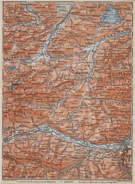 Associate Product Garmisch-Partenkirchen Mittenwald Innsbruck Inntal Wetterstern Isartal  1910 map